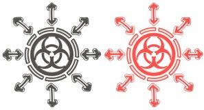 rotes und schwarzes Kreis Biohazard-Strahlungssymbol 3D Stockbild