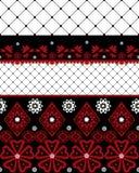 Rotes und schwarzes nahtloses Spitzemuster mit Fischnetz auf Weiß Lizenzfreies Stockfoto