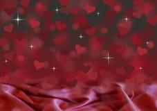 Rotes und schwarzes Valentinsgrußtageskartensatin bokeh Hintergrund-Illustrationsdesign mit Herzen und Sternen Stockbild