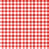 Rotes und weißes Checkered Fabrick Stockbilder
