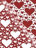 Rotes und weißes Herzvalentinsgrußtageskartenhintergrundillustrations-Steigungsdesign Stockbild