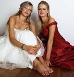 Rotes und weißes Hochzeitskleid Stockbilder
