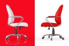 Rotes und weißes Leder-Chef Office Chairs Wiedergabe 3d Stockbilder