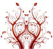 Rotes und weißes Mit Blumenbackgound Stockbilder