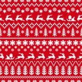 Rotes und weißes Muster des Winters mit Rotwild lizenzfreie stockbilder