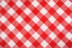 Rotes und weißes Plaidgewebe Rotes Leinenkariertes Hintergrund und Beschaffenheit Lizenzfreies Stockbild
