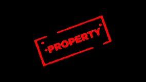 Rotes unterzeichnetes Gummitintenstempel Eigentum summen herein laut und summen heraus mit Transparenzhintergründen des Alphakana stock video footage