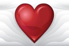 Rotes Valentinsgruß-Inneres auf Pillowy abstraktem Hintergrund Lizenzfreie Stockfotos