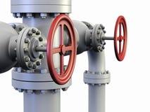 Rotes Ventil auf Schmieröl- und Gasrohrsystem. Lizenzfreie Stockbilder