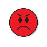 Rotes verärgertes trauriges Gesichts-negative Leute-Gefühl-Ikone lizenzfreie abbildung