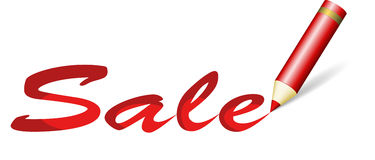 Rotes Verkaufszeichen Stockfoto