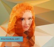 Rotes vorangegangenes polygonales Gesicht der Mädchenzusammenfassung dreiecke Stockbilder
