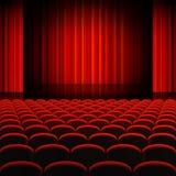Rotes Vorhang-Theater-Stadium Lizenzfreie Stockfotos