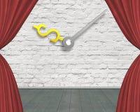 Rotes Vorhangstadium mit den Geldzeichen-Uhrhänden auf weißem Ziegelsteine wa Lizenzfreie Stockfotos