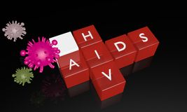 Rotes Würfelwort von Hilfen auf dem schwarzen Glas mit Virussymbol vektor abbildung