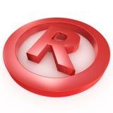 Rotes Warenzeichenzeichen, das auf ein weißes GR legt Stockbilder
