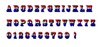 Rotes weißes blaues Alphabet bezeichnet Text patriotische USA mit Buchstaben Stockbild