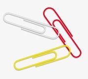 Rotes weißes Gelb der Vektorbüroklammer Lizenzfreie Stockfotos