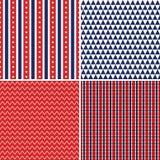 Rotes weißes Blau der nahtlosen Unabhängigkeitstaghintergründe Stockfoto