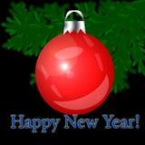 Rotes Weihnachten-Baumspielzeug auf einem schwarzen Hintergrund Stockfotografie