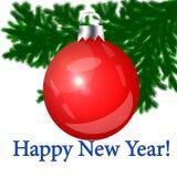 Rotes Weihnachten-Baumspielzeug auf einem weißen Hintergrund Lizenzfreie Stockbilder