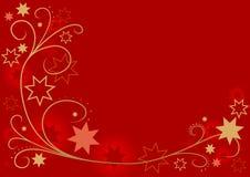 Rotes Weihnachten mit Blumen Stockfotografie