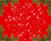 Rotes Weihnachtsfeld mit Scheinen Stockfoto