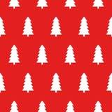 Rotes Weihnachtsmuster mit Weihnachtsbaumvektor lizenzfreie abbildung