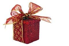 Rotes Weihnachtspaket Stockfoto