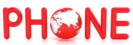 Rotes Wort TELEFON mit Kugel 3D Stockfotos