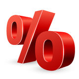 Rotes Zeichen der Prozente 3D Lizenzfreies Stockfoto