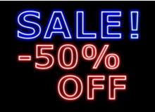 Rotes Zeichenneon des Verkaufs -50%off auf Schwarzem Lizenzfreie Stockbilder