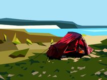 Rotes Zelt durch den See vektor abbildung