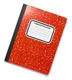 Rotes Zusammensetzungs-Buch auf Weiß Stockbilder