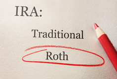 Roth IRA circle. Traditional and Roth IRA circled in red pencil -- retirement concept royalty free stock photos