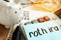 Roth ira written on a memo stick. Retirement stock images