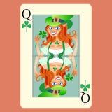 Rothaarige elphicke Spielkarte Königin St Patrick lizenzfreie abbildung