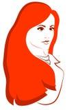 Rothaarigemädchen auf dem weißen Hintergrund Stockfoto