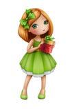 Rothaarigemädchen im grünen Kleid, das Geschenkbox, lokalisierte Illustration hält Stockfotografie