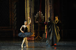 Rothbart also brought his daughter Ogi Liya-The prince adult ceremony-ballet Swan Lake Stock Photos
