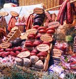 Sausage Display in Delicatessen Window - Germany royalty free stock images
