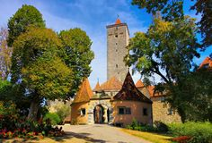 Rothenburg in Germany, the castle gate stock photos