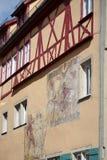 ROTHENBURG, GERMANY/EUROPE - 26 DE SETEMBRO: Pintura mural em um colorido imagem de stock royalty free