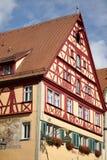 ROTHENBURG GERMANY/EUROPE - SEPTEMBER 26: Färgglat hus i R Arkivbilder