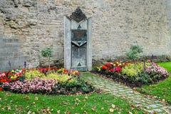 ROTHENBURG, GERMANY/EUROPE - SEPTEMBER 26 : Monument to fallen J. Ews in Castle gardens at Rothenburg Germany on September 26, 2014 stock photo