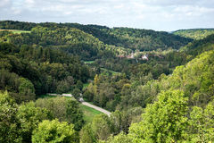 ROTHENBURG, GERMANY/EUROPE - SEPTEMBER 26 : View over the countryside from Rothenburg Germany on September 26, 2014 stock photos