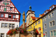 Rothenburg in Germany, Seelhouse well stock photos