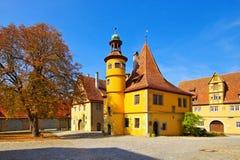 Rothenburg i Tyskland, det Hegereiter huset arkivbild