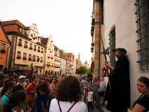 Rothenburg nolla D T , TYSKLAND - Juli 20, 2016: Nattväktaren arkivbild