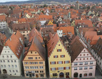 Rothenburg o.b. Tauber seen from above. A view of Rothenburg ob den Tauber taken from the Tower of the Town Hall. Rothenburg is an old historical town with very royalty free stock photos